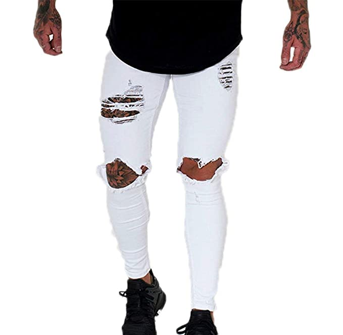YL Style Pantalones Vaqueros Desgastados Pantalones Vaqueros ...