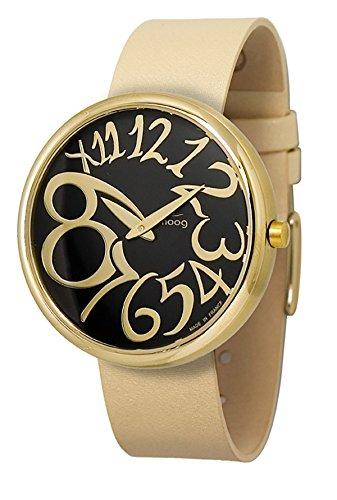 Moog Paris Ronde Art-deco Women's Watch with Black Dial, Interchangable Beige Strap in Fabric - M41671-003 ()