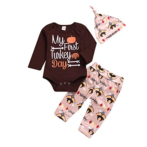 BELS 3pcs Thanksgiving Outfit Baby Girls Boys Long Sleeve My First Turkey Day Brown Romper + Pants with Cute Hat (Brown, 12-18m/90) for $<!--$10.99-->