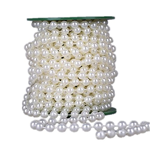 Pearl Garland For Christmas Tree: 33Feet/10Meter Length Roll Beige Pearl String Party