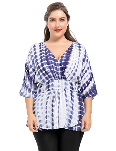 Chicwe Women's Plus Size Tie-Dyed Woven Viscose Promenade Top Indigo Size 1X (Tie Dyed)