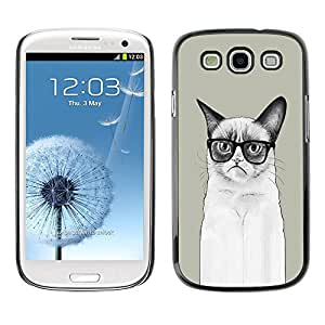 Paccase / SLIM PC / Aliminium Casa Carcasa Funda Case Cover para - Funny LOL Long Angry Cat - Samsung Galaxy S3 I9300