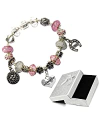Charm Buddy Goddaughter Pink Silver Crystal Good Luck Pandora Style Bracelet With Charms Gift Box