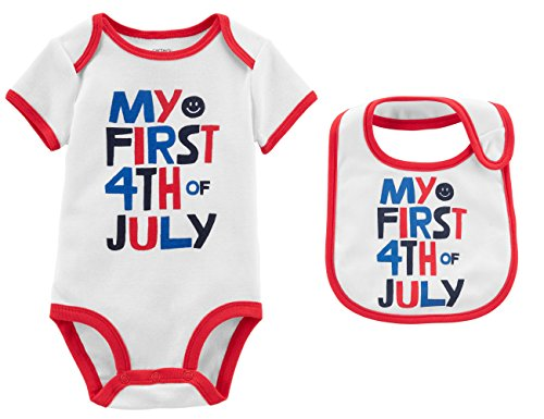 Carter's Baby's First 4th of July Bodysuit and Bib Set, Boy's Girl's (12 Months)