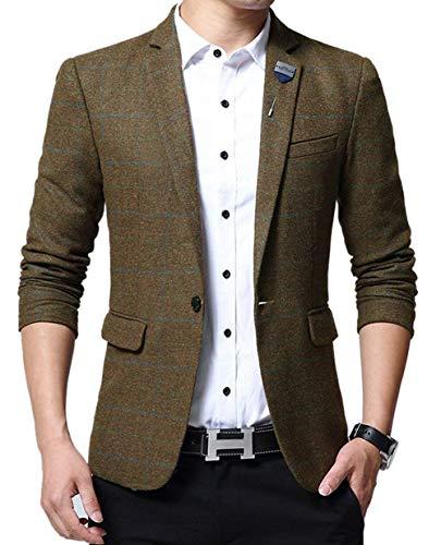 La Fit Costume Bouton Breasted Carreaux Mode Hommes De Élégant Slim Kaki Avec 1 À Single Conception Décontracté Veste Mariage Tweed Blazer Retro 8q5FCf