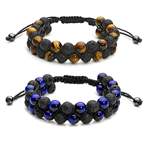 Jovivi 2pcs Mens Lava Rock Stone Essential Oil Bracelet Tiger Eye Beads Double Layer Bracelets Macrame Adjustable Braided