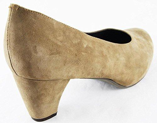 Popken Cuir En 2139 À Chaussures Taupe Ulla Hauts Talons Véritable PxBddY4
