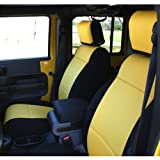 Coverking Custom Fit Seat Cover for Jeep Wrangler JK 4-Door - (Neoprene, Black/Yellow)