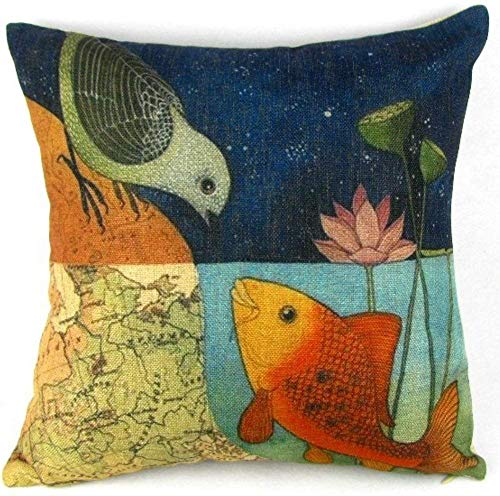 Leaveland Bird & Fish in the Two World Forever Throw Pillow Case Sham Decor Cushion Covers Square 1818 Inch Beige Cotton Blend Linen