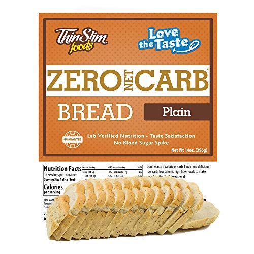 - ThinSlim Foods 45 Calorie, 0g Net Carb, Love-The-Taste Low Carb Bread Plain