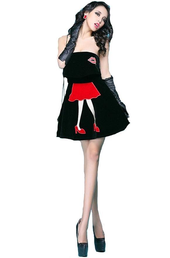 QIYUN.Z Frauen Kleine Mädchen HeißEn Lippen Trägerlosen Verschieben Kurze  Ärmelloses Kleid Sexy Club-Wear Cocktail Abendkleid Kleid Damen Kleider  ... daaee6f409
