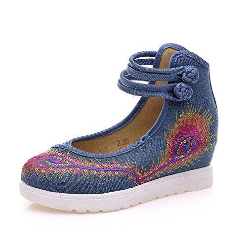 KIKIGOAL El Nuevo Viento Nacional Bordó Los Zapatos Del Paño Con la Alta Pendiente con Los Zapatos Bajos Femeninos de la Hebilla de la Boca Azul