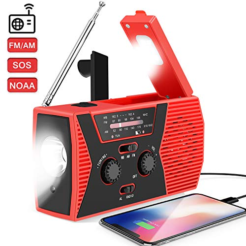 2020 Upgraded Weather Radio Solar Hand Crank Portable Emergency Radio,AM/FM NOAA Weather Radio with LED Flashlight, 2000mAh Power Bank Cellphone Charger, Reading Lamp,SOS Alarm(Red)