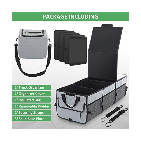 51huqaYEhTL AojSup Extra großer Kofferraum Organizer 92L mit Deckel und Kühltasche, Faltbare Auto kofferraumtasche 1-3…