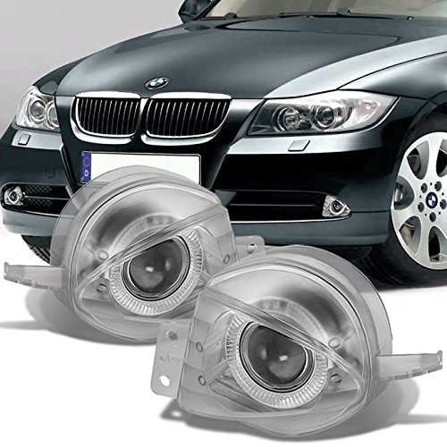 For BMW E90 3-Series 4DR Sedan Clear Lens LED Halo Projector Fog Light W/Switch + Wiring 3 Series Projector Fog Lights