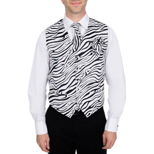 Men's Black - White Zebra Print Vest Necktie and Hanky Set