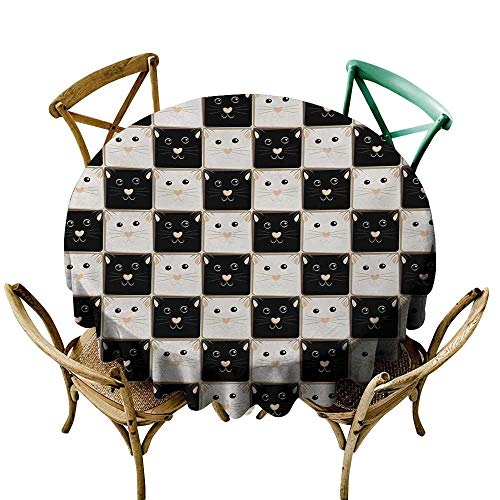 Mkedci Decorative Textured Fabric Tablecloth Checkers Game Checkered Squares with Cute Cat Faces in Classic Game Board Pattern Excellent Durability D43 Dark Brown Beige for $<!--$20.90-->