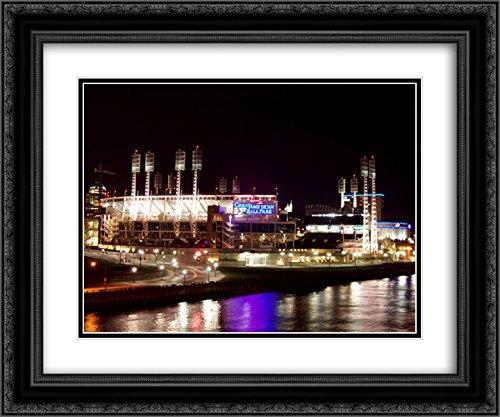 Great American Ballpark 2X Matted 24x20 Black Ornate Framed Art Print from The Stadium Series
