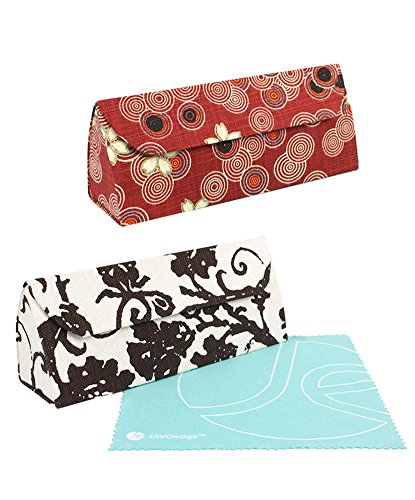 [2 PCS SET], JAVOedge Fleur and Blossom Bundle Eyeglass Storage Case w/Magnet Closure + Microfiber Cloth (Brown, Red) by JAVOedge