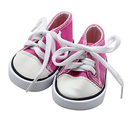 - Wensltd Clearance! Doll Shoesfor 18 Inch Dolls - Canvas Lace Up Sneakers Shoes for 18'' American Girl & Boy Dolls (Hot Pink)