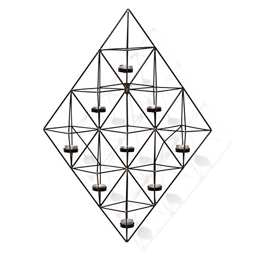 Danya B Decorative Metal Wall Sconce Tea Light Candle Holder - Rhomboid Geometric Design - Easy to Hang - Contemporary Home Décor ()