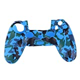 Auntwhale Camouflage Silicone Rubber Soft Sleeve Skin Grip Cover Case for PS4 Controller Camouflage Blue