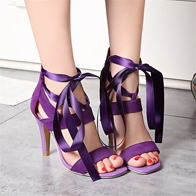 LvYuan Mujer-Tacón Stiletto-Innovador Zapatos del club-Sandalias-Vestido Informal Fiesta y Noche-Satén Terciopelo-Negro Azul Morado Rojo Purple