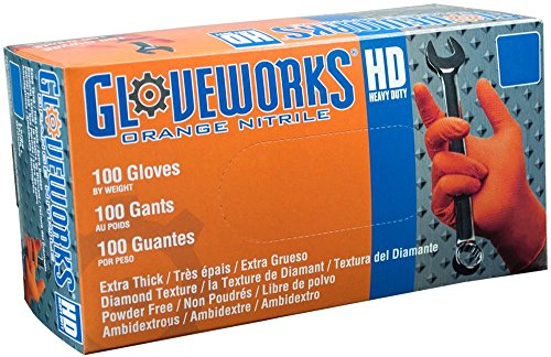 AMMEX - GWON46100 - Nitrile Gloves - Gloveworks - Disposable, Powder Free, 8 mil, VVklnL Large, Orange (Case of 2000) by Ammex