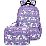Backpack for Kids, CAMTOP Girls Preschool Backpack with Lunch Box Toddler Kindergarten School Bag Set (Y0023-2 Purple)