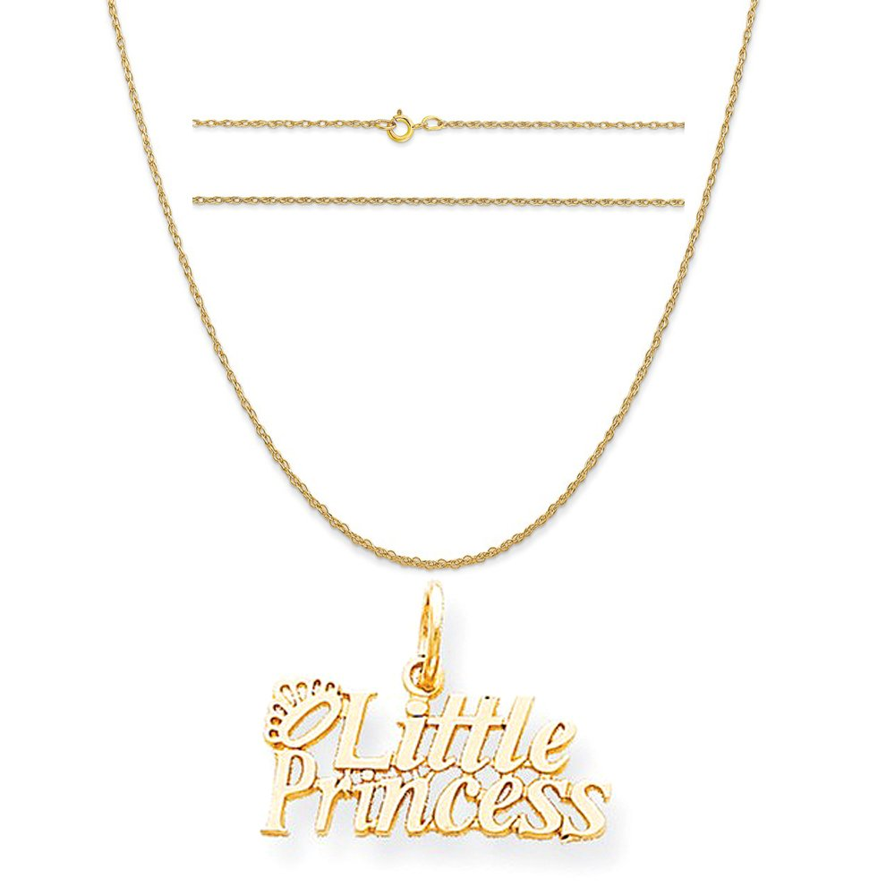 K/&C 10k Yellow Gold Little Princess with Crown Charm on 14K Yellow Gold Rope Chain Necklace