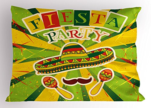 Ambesonne Fiesta Pillow Sham, Sprites with Sombrero Maracas Mustache Mexican Hand Drawn Illustration, Decorative Standard Size Printed Pillowcase, 26 X 20 inches, Green Yellow Vermilion by Ambesonne