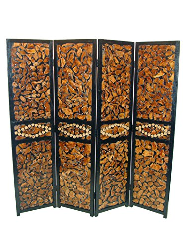 Benzara ETD-EN111127 Attractive 4 Panel Room Divider, Multicolor