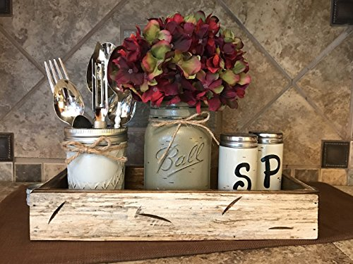 Ball Mason Jar KITCHEN Table Centerpiece SET Antique WHITE TRAY ~Salt and Pepper Shakers, Pint Vase Jar with FLOWER, ~Distressed Painted Jars, Accessory Holder Green Brown Cream White Tan Blue - Nude Glasses Nerd