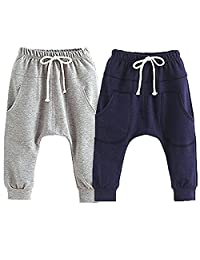 Little Baby Boys Girls 2 Pack Of Cotton Hiphop Harem Pants Infant Sport Jogger