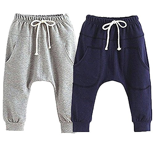 REWANGOING Little Baby Boys Girls 2 Pack Of Cotton Hiphop Harem Pants Infant Sport Jogger 2T-3T  Pants-e by REWANGOING