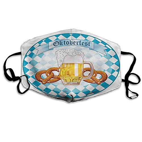 Oktoberfest Fashion Mouth Mask Round Artwork Pretzel for Cycling Camping Travel W4