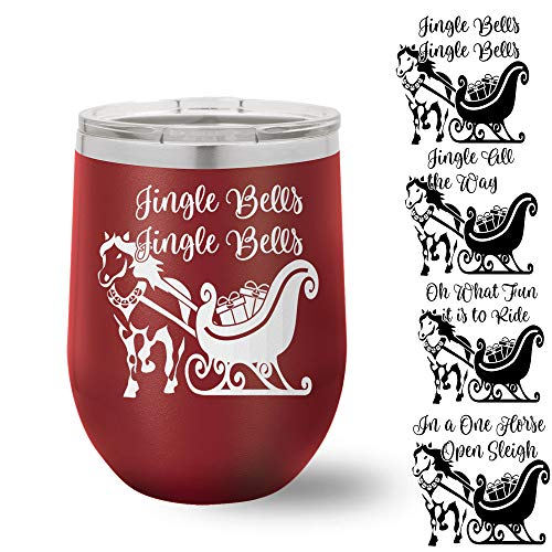 Jingle Bells 12oz Insulated Stainless Wine Tumbler w/Lid (one) w/Free Customization ()