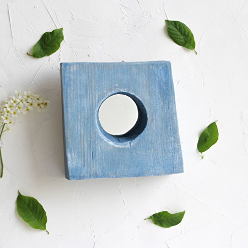Shabby chic Small Mirror 6x5 Inch by WoodenStuff Rustic Wood Framed Mirrors Decorative Organizer for Living Room Wooden Border in Distressed Blue for Wall Decor Housewarming Gift