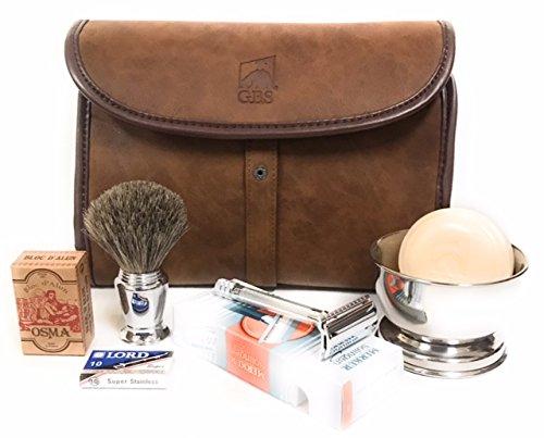 Dopp Kit - #23001 Double Edge Safety Razor, Chrome Shaving Brush, Bowl, Soap comes with Osma Block + Leather Toiletry Bag ()