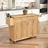 Cheap Home Styles 5023-95 Wood Top Kitchen Cart with Breakfast Bar, Natural Finish