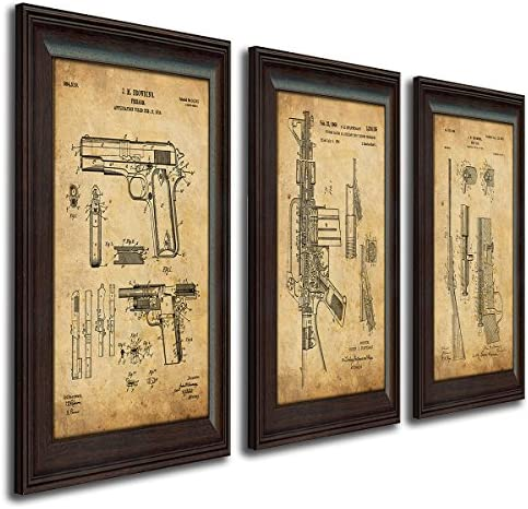 Personal Prints 3 pc Framed Modern Gun Patent Set – 1911, M16, Bolt Gun