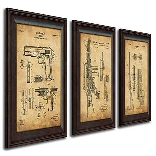 3-pc-framed-modern-gun-patent-set-1911-m16-bolt-gun