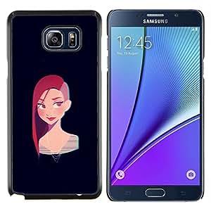 KLONGSHOP // Cubierta de piel con cierre a presión Shell trasero duro de goma Protección Caso - Redhead chica punky Negro Cartoon - Samsung Galaxy Note 5 5th N9200 //