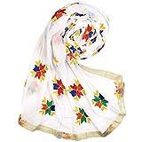 Phulkari Embroidery White Dupatta Chunni Stole Fashion Neck Wrap Hijab Scarf Golden Border for Woman Girl Wear