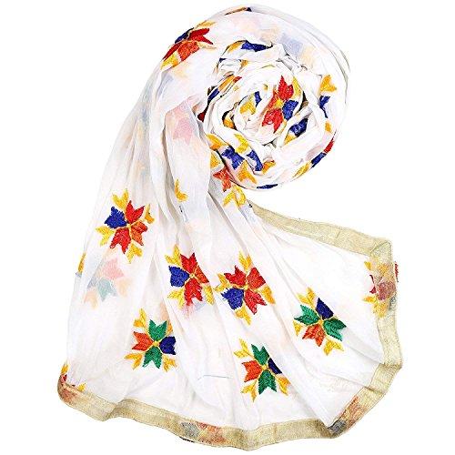 Phulkari Embroidery White Dupatta Chunni Stole Fashion Neck Wrap Hijab Scarf Golden Border for Woman Girl Wear by Stylob