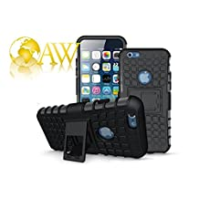 iPhone 6 Plus Funda, iPhone 7/7S Plus Armor casos (6 +) rígida con relieve Shockproof ArmorBox/funda protectora blanda de Slim (5.5 inch) por cable y duro híbrido de doble capa caso (BLACK)