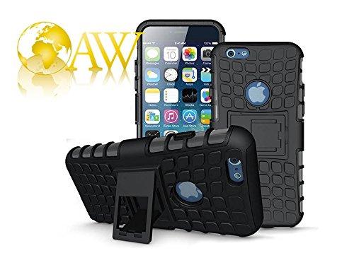 iPhone 6 Plus Funda, iPhone 7/7S Plus Armor casos (6 +) rgida con relieve Shockproof ArmorBox/funda protectora blanda de Slim (5.5 inch) por cable y duro hbrido de doble capa caso (BLACK)