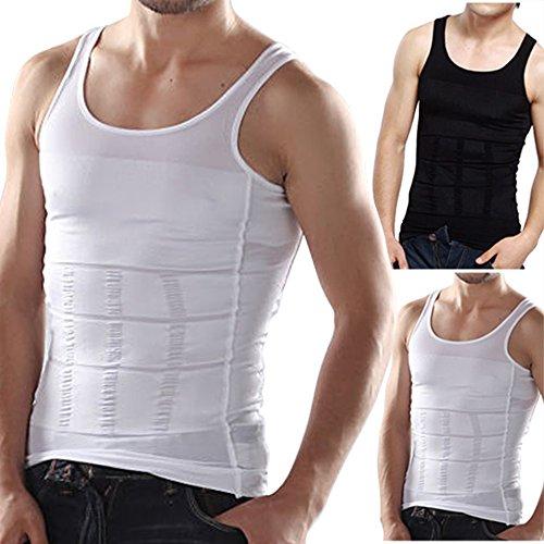 Bauchweg Bodyshaper Slimming T-Shirt Men Miederbody Shapewear Figurformer für Männer (L, Schwarz)