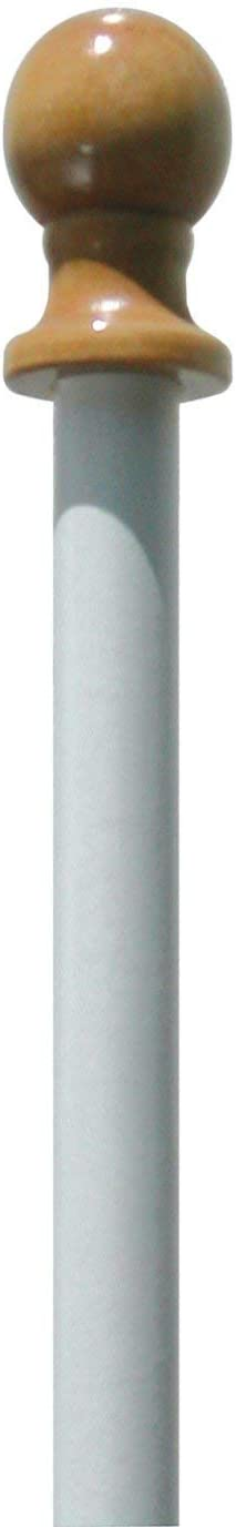US Flag Store 5ft Fiberglass Pole with Finial and 2 EZ Mount Clips