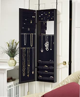The Plaza Astoria Wall Mount Over The Door and Free Standing Jewelry Armoire and Cabinet with Full Length Dressing Mirror and Vanity Mirror
